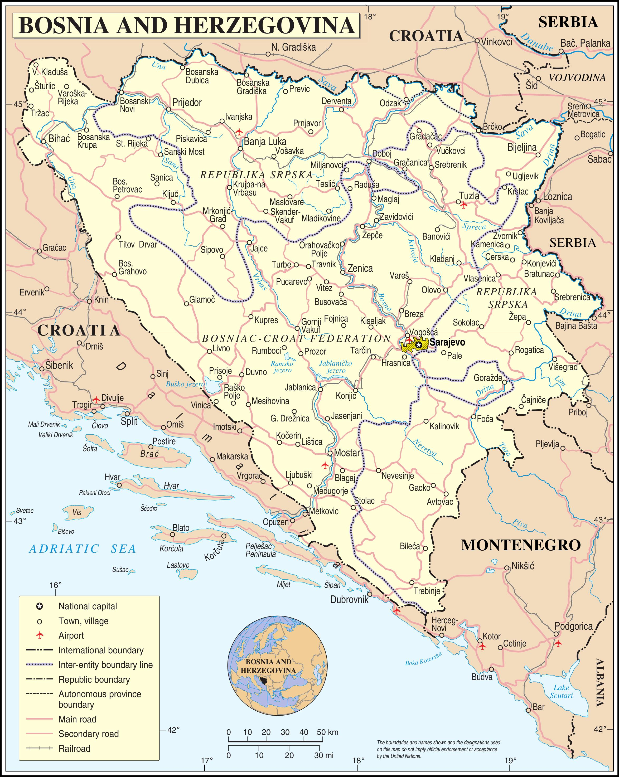 Bosnien Turist Kort Kort Over Bosnien Turist Det Sydlige Europa